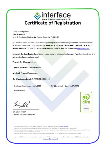 PEFC Certificate - Vtec Group