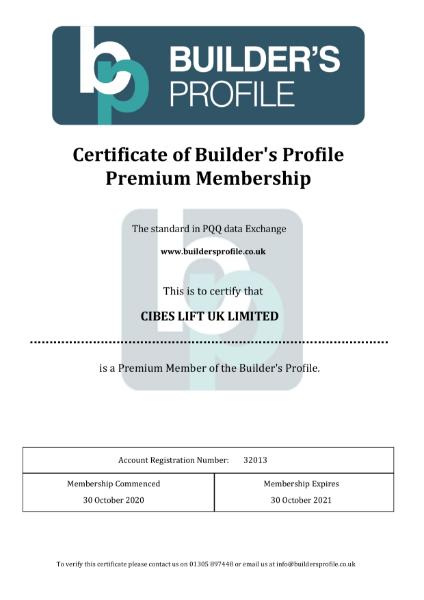 Builders Profile Certificate 2021