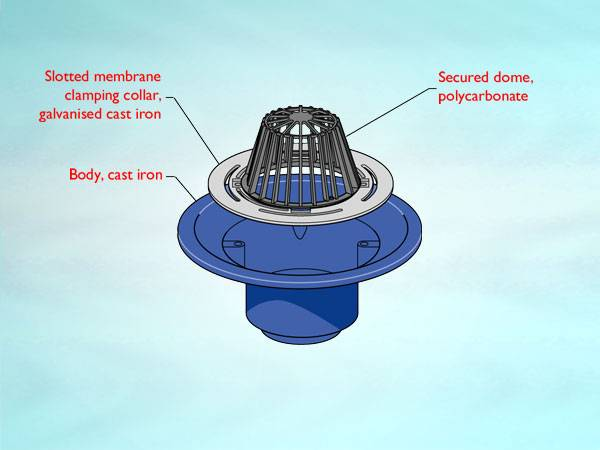 WB4 Series outlet for cold roof, dome grating