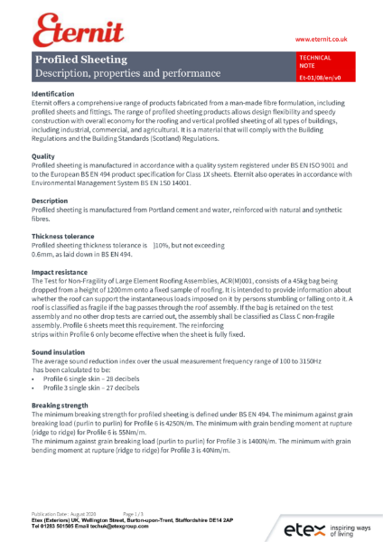 Eternit – Material Information Data Sheet