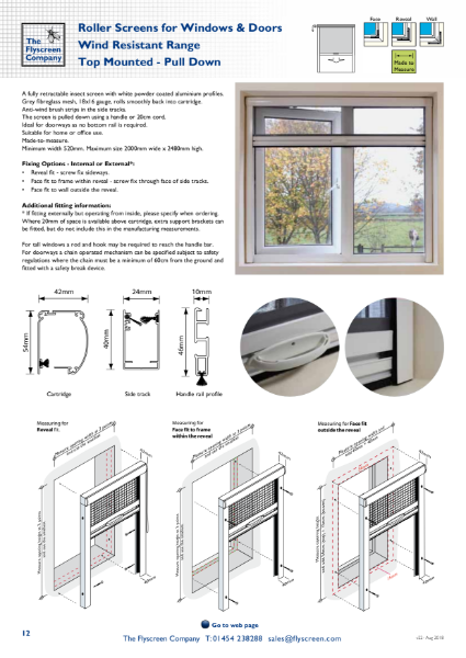 Flyscreen Roller Window and Door Screens - Wind Resistant - Top Mounted