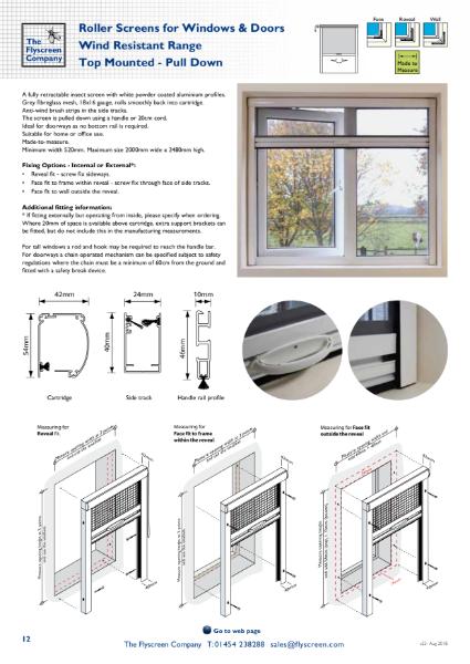 Flyscreen Roller Window and Door Screens - Wind Resistant - Top Mounted
