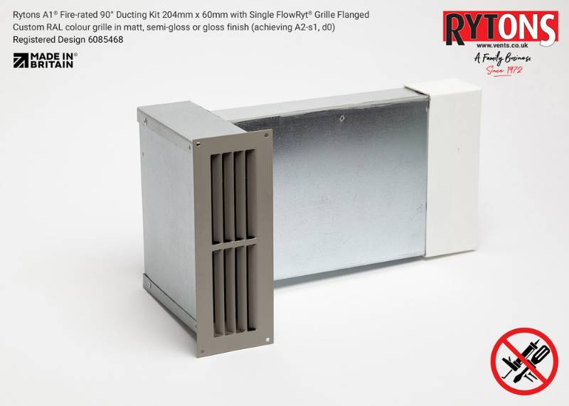 Rytons A1 Fire-rated 90° Ducting Kit 204 x 60 mm with Single Air Brick Grille