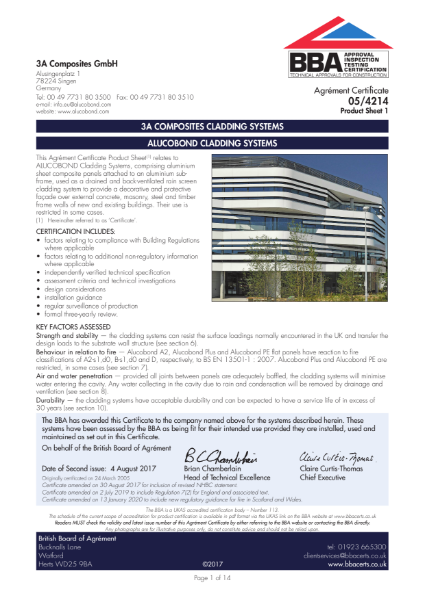 3A COMPOSITES CLADDING SYSTEMS - ALUCOBOND CLADDING SYSTEMS