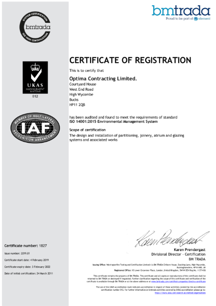 Optima Contracting ISO 14001: 2015