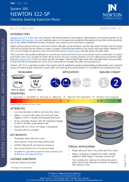 Newton 322-SP Injection Resin Data Sheet