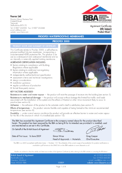 09/4663 Proofex waterproofing membranes - Proofex 3000 - Product Sheet 1