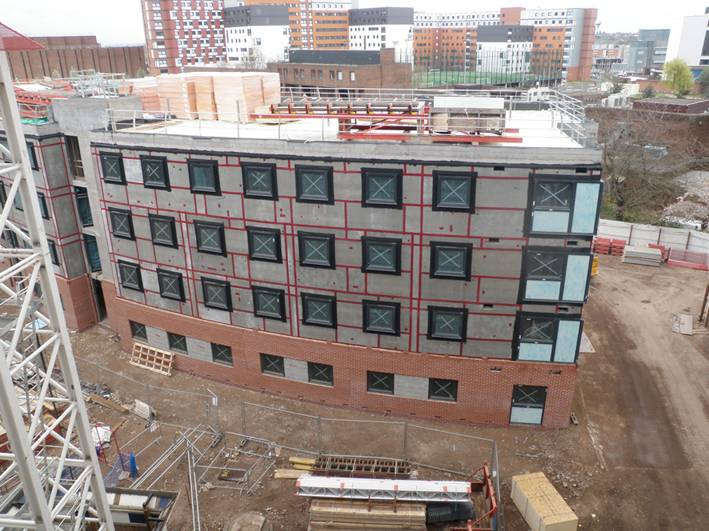 Aston Student Village, Birmingham. BAM Construction. Lewis Hickey. Dempsey Dyer Ltd. Deceuninck 2500 series Tilt & Turn in Decoroc RAL 7016