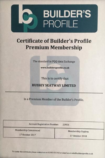 Builder's Profile Certificate