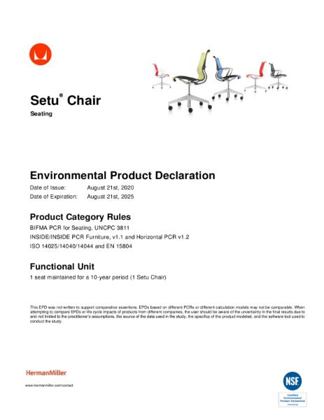 Setu Chair - Environmental Product Declaration