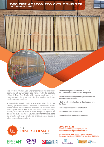 Two Tier Amazon Eco Cycle Shelter - Specification Sheet