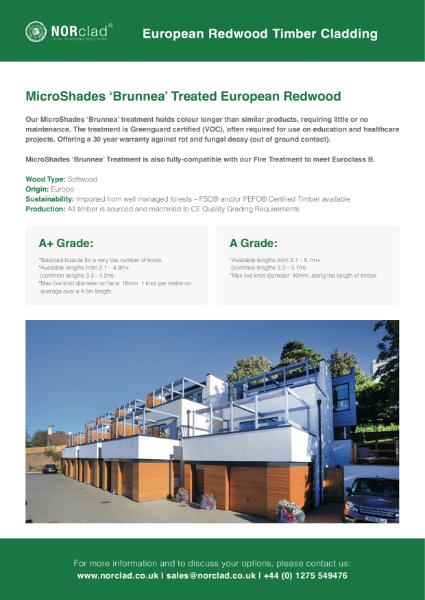 MicroShades Brunnea treated Redwood Timber Cladding - NORclad