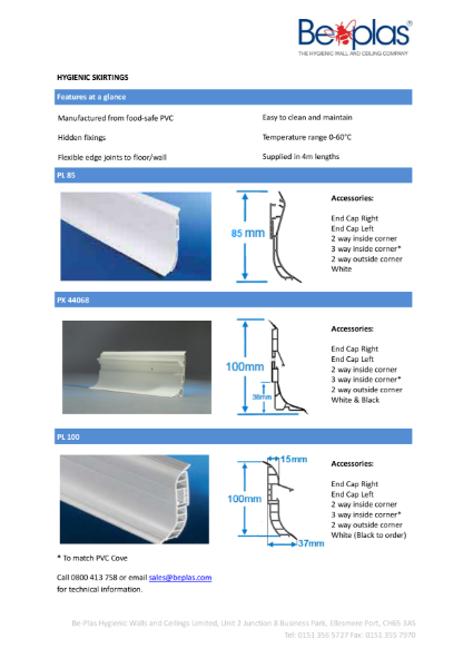 Beplas Elite Hygienic PVC Skirting