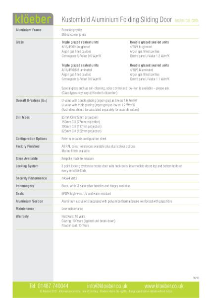 Data Sheet: Aluminium Folding Sliding Door