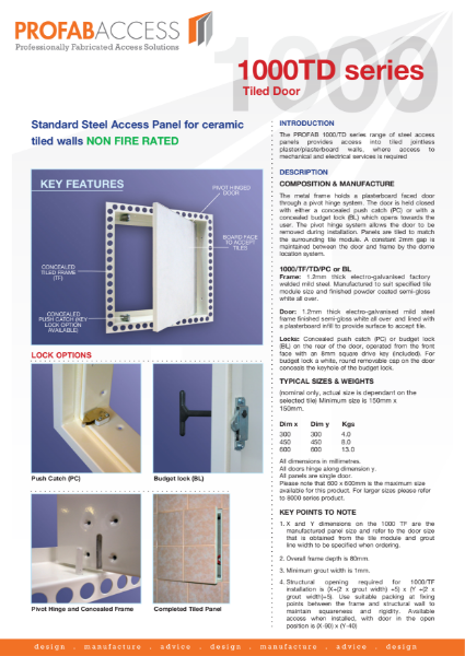 Profab 1000 Series Tiled Access Panels