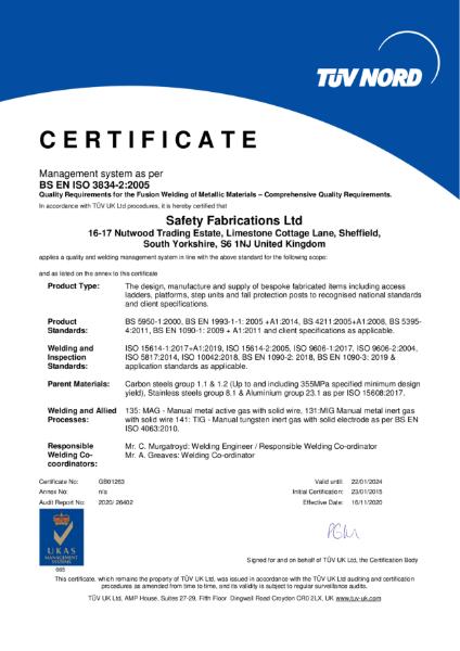 BS EN ISO 3834-2:2005 certificate