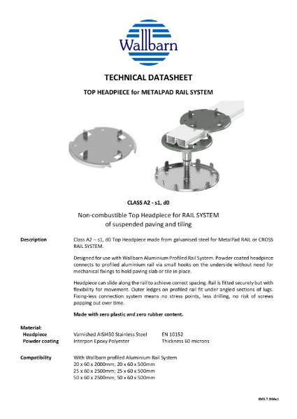 Class A Top Head for Rail System datasheet