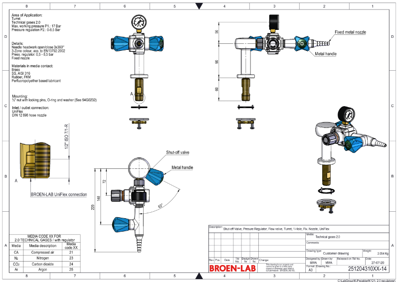 Table mounted laboratory 0-8.5 bar pressure regulator purity level 2.0 TDS