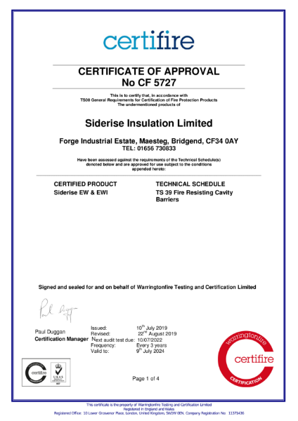 Certifire Certificate CF5727 Fire Resisting Cavity Barriers