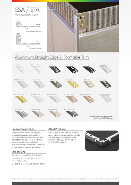 ESA - Aluminium Straight Edge Datasheet