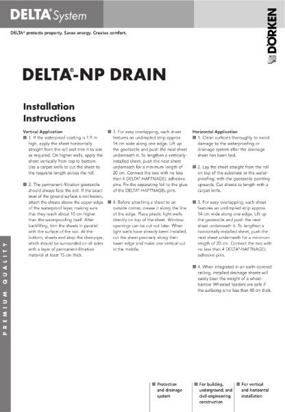 Delta-NP Drain Installation Instructions