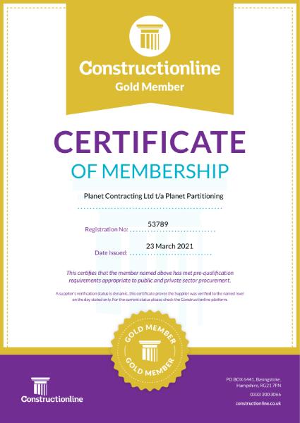 Constructionline Gold Certificate of Membership