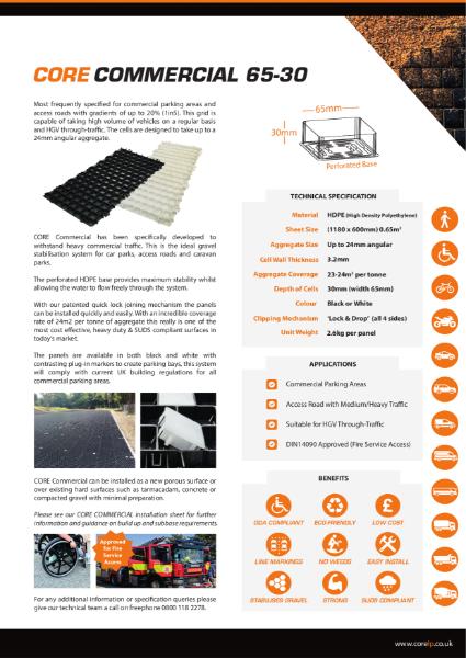 CORE COMMERCIAL 65 30 Gravel Stabiliser Specification Sheet
