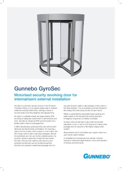 Motorised security revolving door for internal/semi external installation - GyroSec