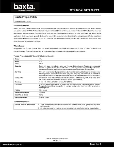 Baxta Concrete Covacoat Primer Technical data sheet