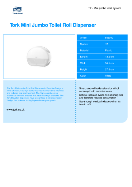 Tork Mini Jumbo Toilet Tissue Dispenser