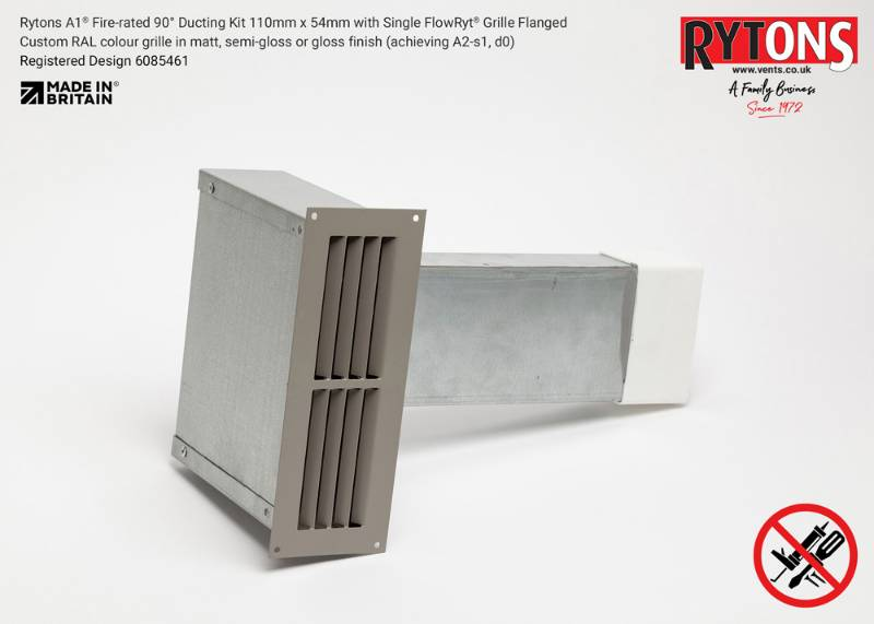Rytons A1 Fire-rated 90° Ducting Kit 110 x 54 mm with Single Air Brick Grille