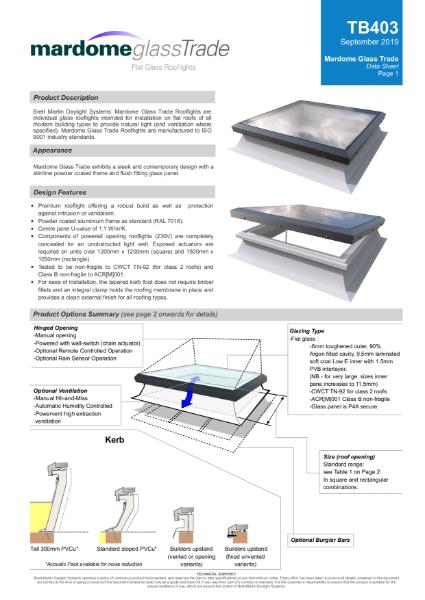Mardome Flat Glass Rooflight