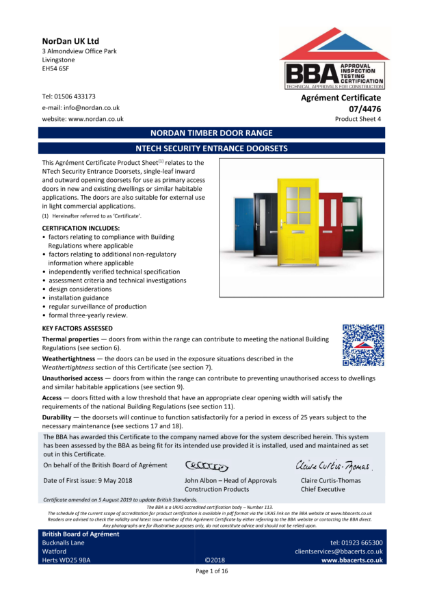 07/4446_4 NTECH SECURITY ENTRANCE DOORSETS