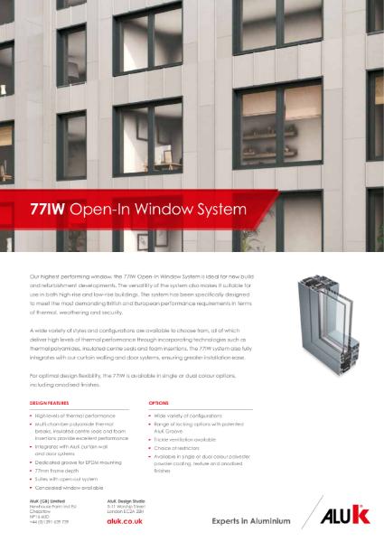 AluK 77IW Open-In Window System Datasheet