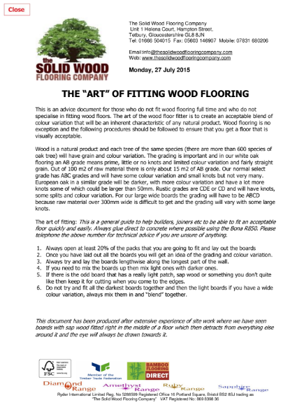 The Art of Fitting Wood Floors