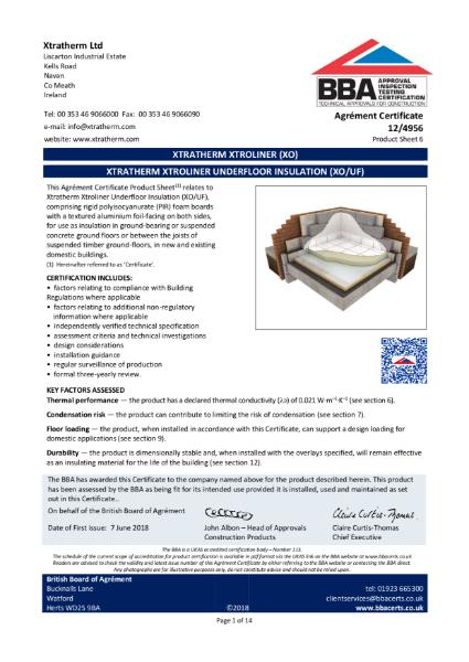 12/4956 Xtratherm Xtroliner Underfloor Insulation (XO/UF) (Product Sheet 6)