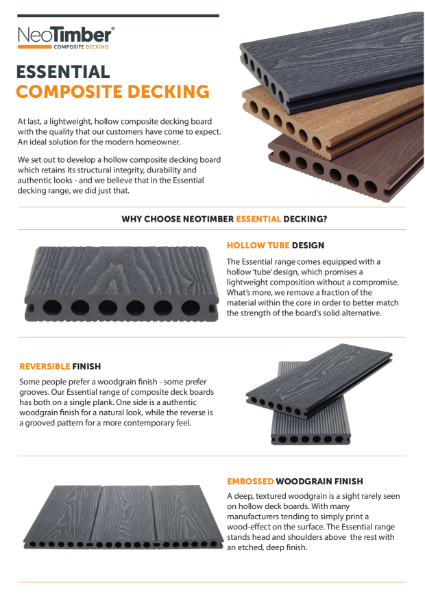 NeoTimber Essential Composite Decking Technical Specifications