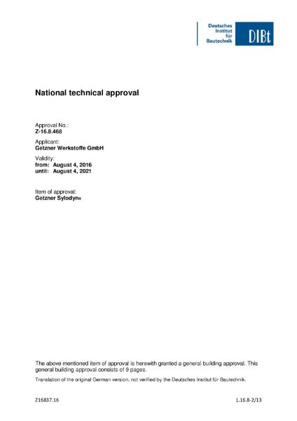 National Technical Approval - Sylodyn
