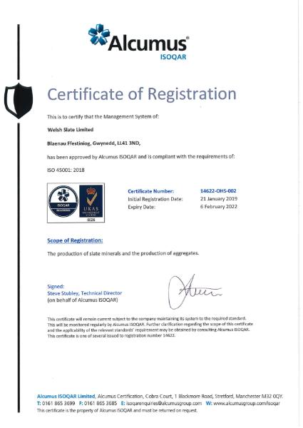 ISO 45001:2018 Blaenau Ffestiniog