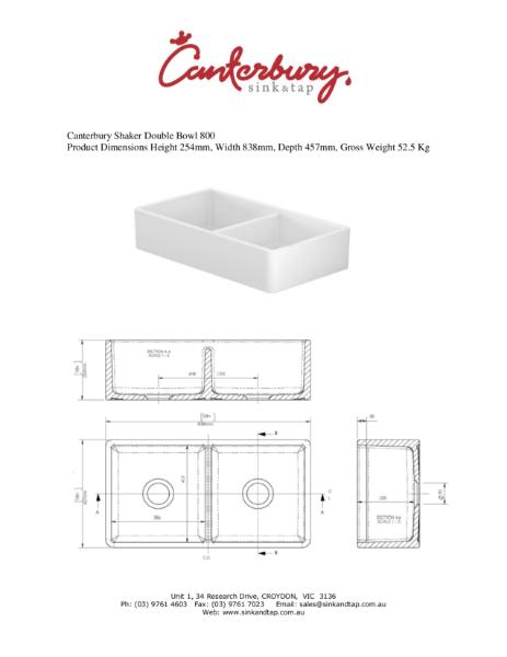 Canterbury Shaker SDB800 Technical drawing