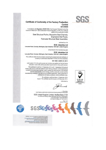 EN 1090 Factory Production Control Certificate