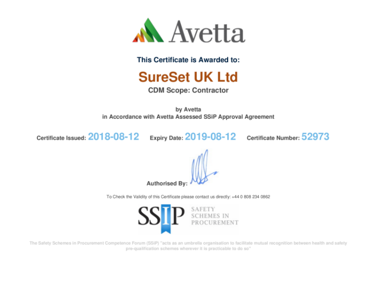Avetta SSIP Contractor Certificate 2018 - 2019