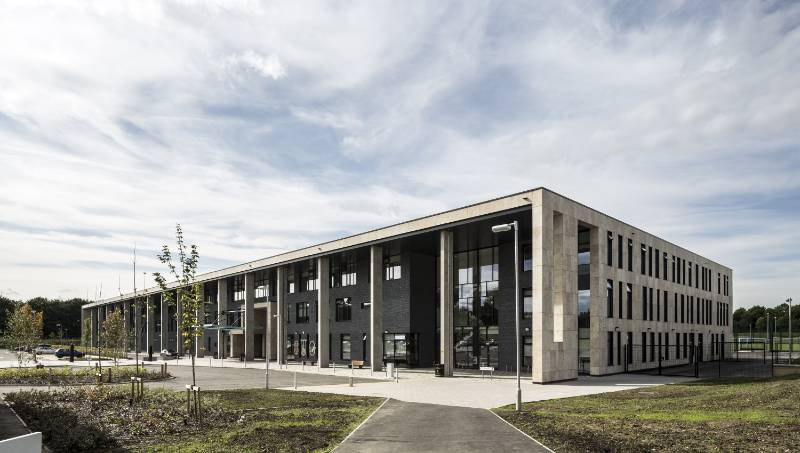 Stone Cladding - Greenfaulds High School, Cumbernauld - Jura Limestone