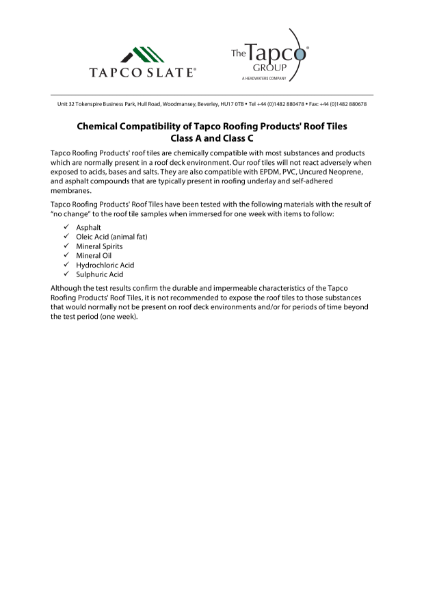 TapcoSlate Classic Chemical Compatibility