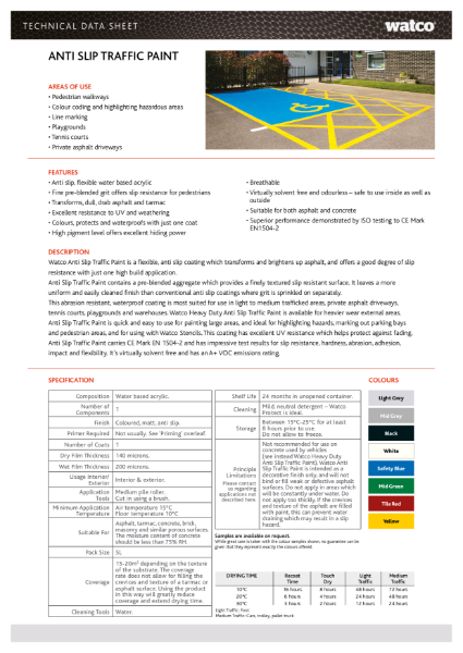 Data Sheet: Anti-Slip Traffic Paint