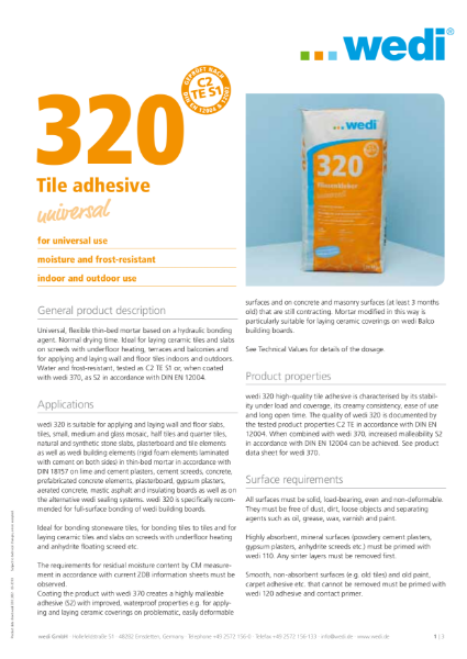 wedi 320 Adhesive  TDS