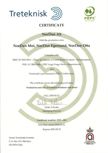 NorDan PEFC Certificate