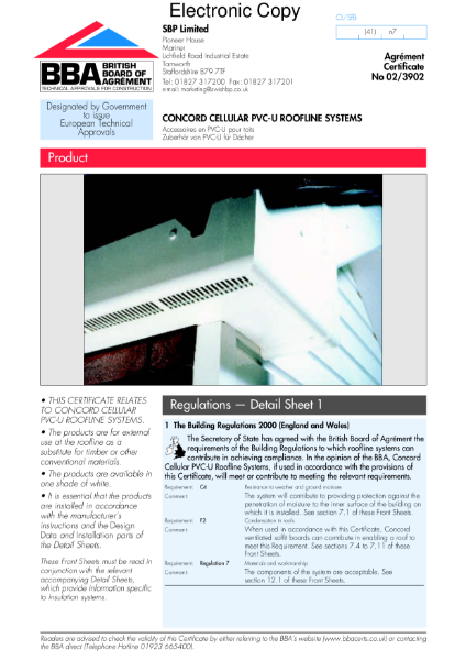 Concord cellular PVC-U roofline systems