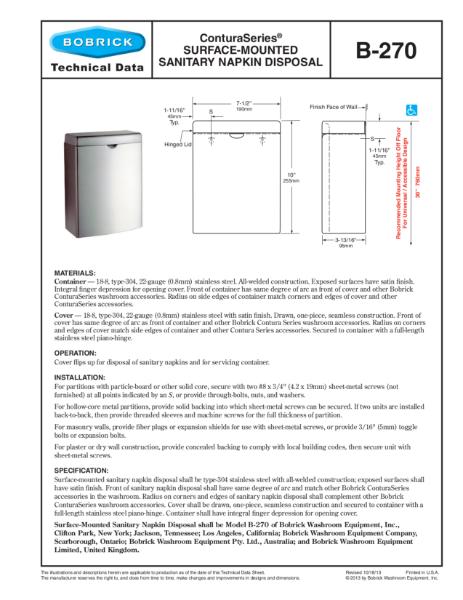 ConturaSeries® Surface-Mounted Sanitary Napkin Disposal - B-270