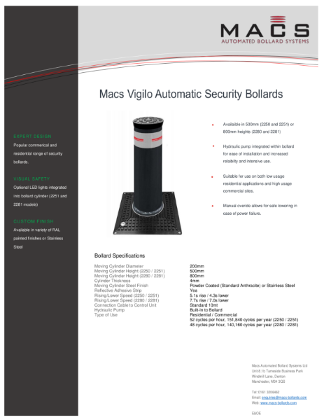 Macs Vigilo Automatic Bollard Data Sheet